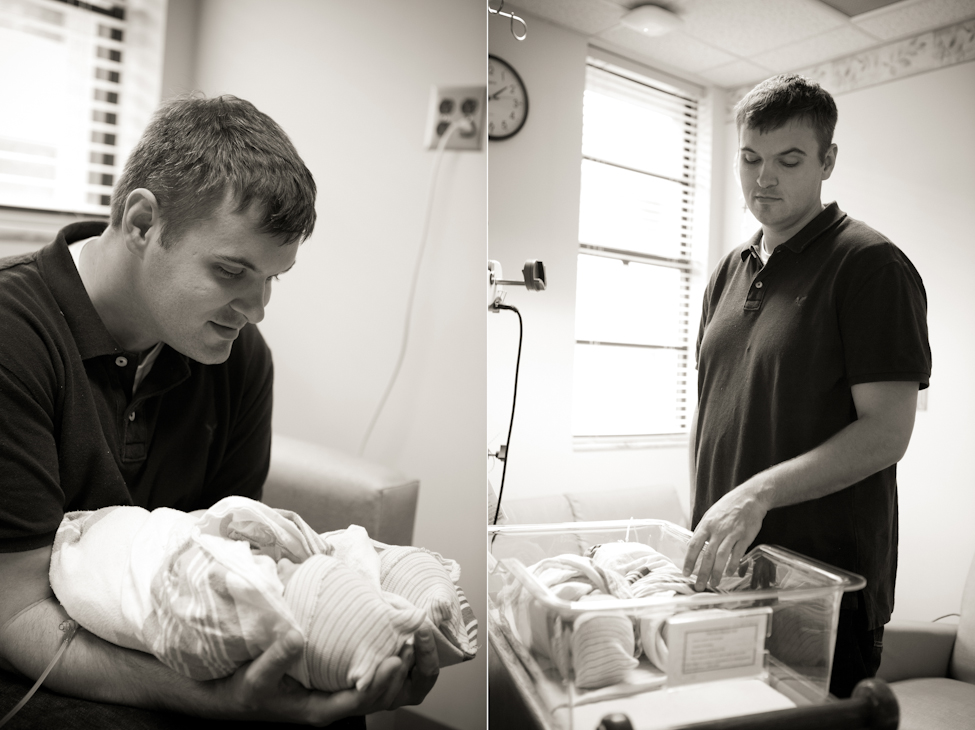 newborn twins with dad