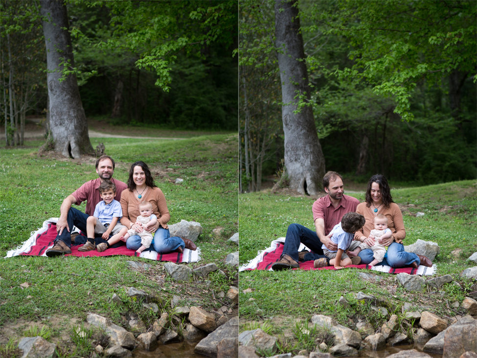 family photo near creek