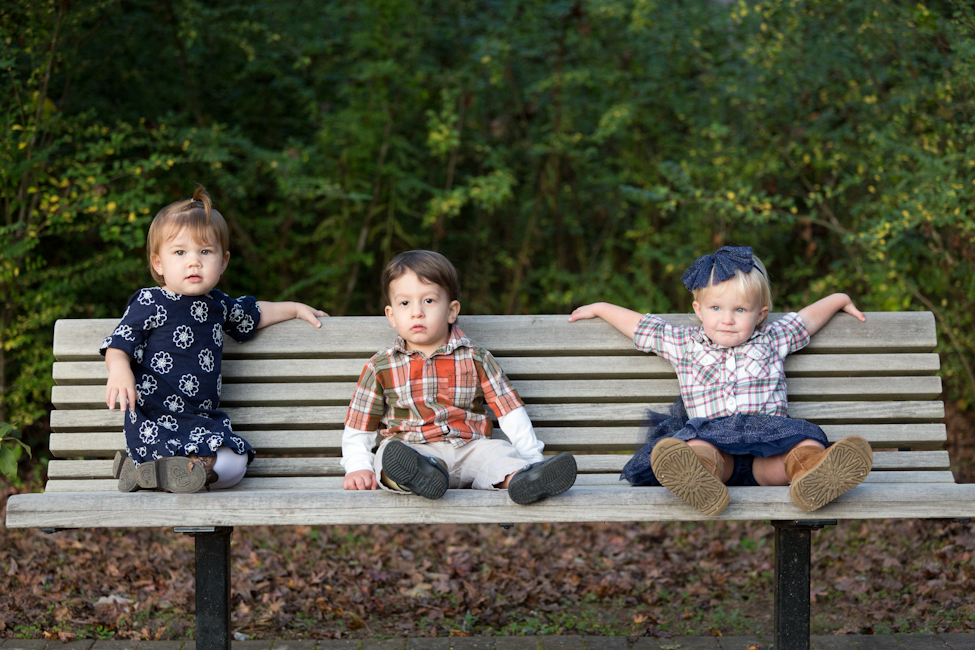 children friends on a bench