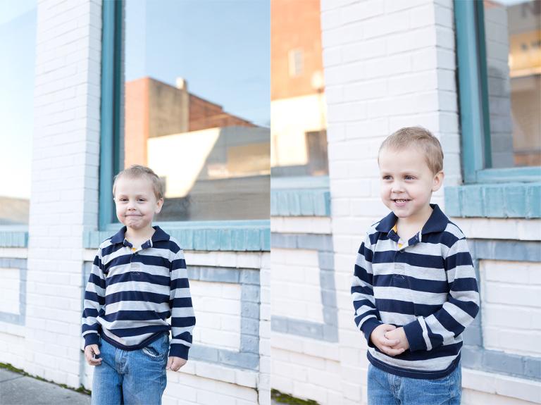 little boy downtown