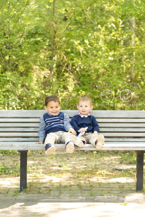cousins on a bench
