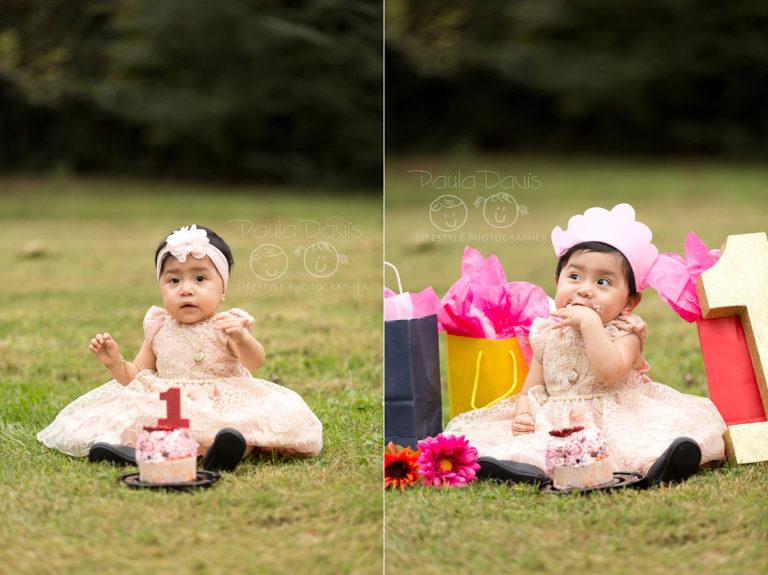 baby eating smash cake