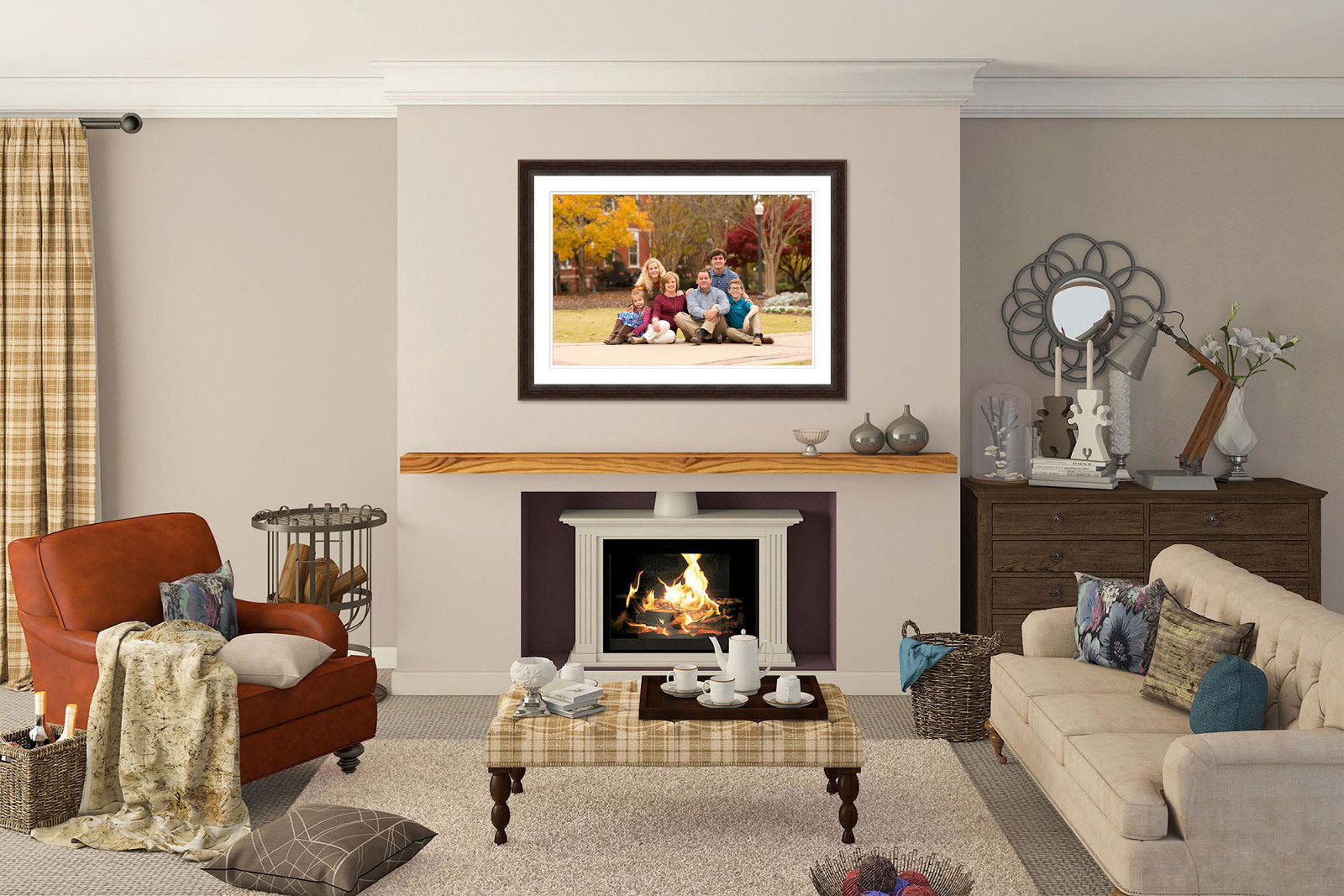 sample image of family portrait on wall