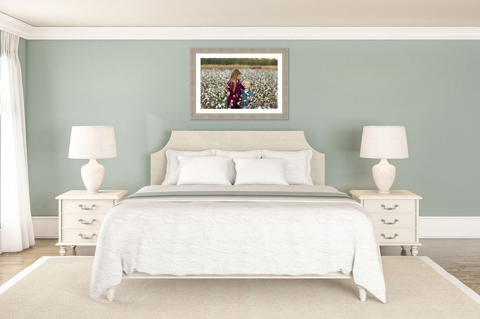 sample of family portrait above bed