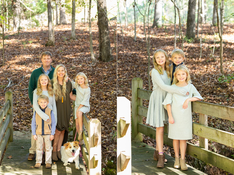 siblings standing together on a wooden bridge