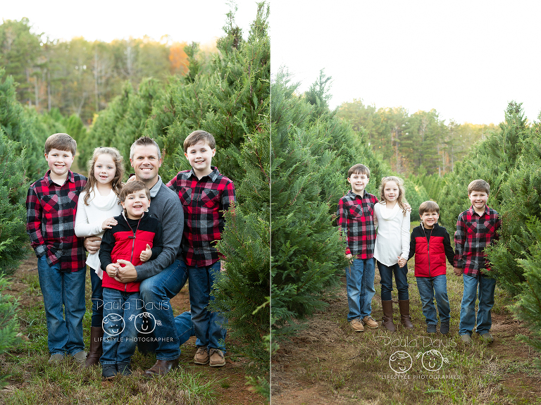 dad with his four kids enjoying a christmas tree farm